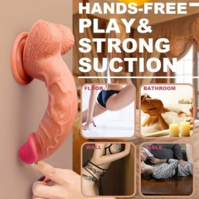 SHEQU Dildo Sex Toys for Women Dual Density Silicone Dong with Suction Cup, 8.46 Sex Cock with Balls Adult Toy for Vaginal